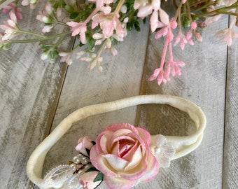 Pale Pink Rose Headband|Baby Girl Headband|Grey Velvet Leaves|Shabby Chic Headband|Photography Prop|Lilac Woodland|Rose Headband|Pastel Rose