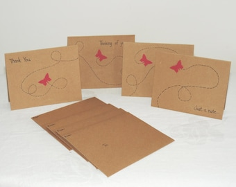 Whimsical Butterfly Blank Note Cards ~ Set of 4 with envelopes ~ Brown Card Stock ~ Original Artwork