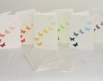 Rainbow Butterfly Blank Note Cards with Envelopes ~ Set of 6 ~ Original Art