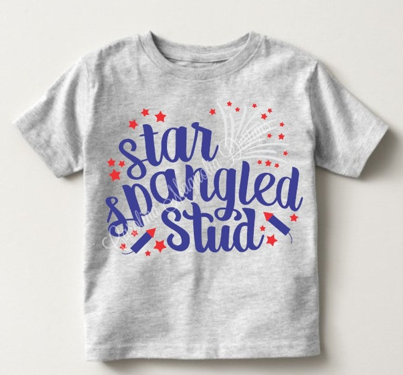 Star Spangled Stud Toddler Top 4th of July Boy 4th of July image 0