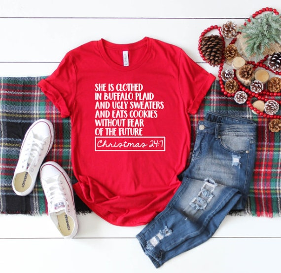 41e6c235fe She is clothed in Buffalo Plaid Shirt Funny Christmas Shirt