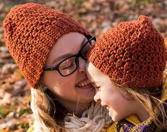 Mommy and Me Matching Hats - Crochet Matching Mother Daughter Hats