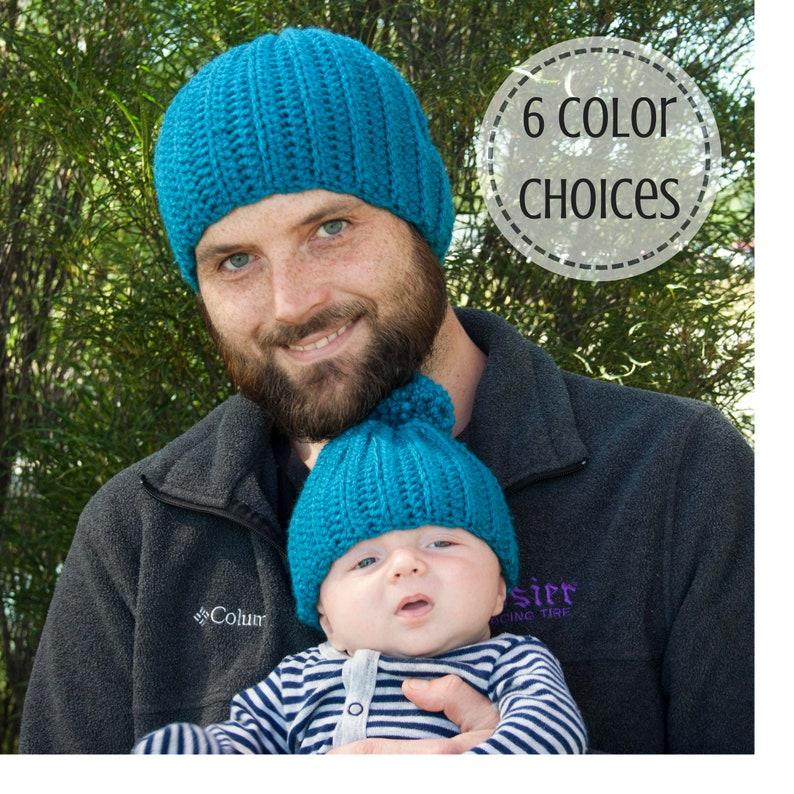 81d1d704bed Custom Crochet Daddy   Me Matching Beanie Hats