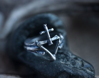 Alchemy ring with the symbol of alchemical sulfur, witch ring, gothic jewelry. Christmas gift