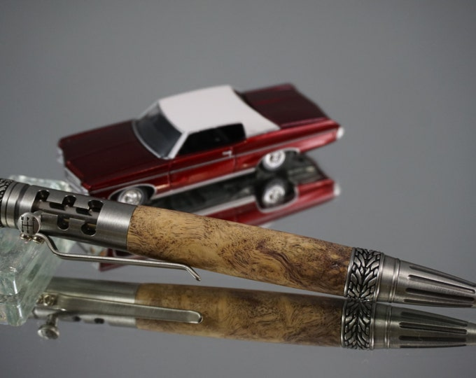Featured listing image: Gearshift Pen, Ballpoint/Gel Ink,  Antique Pewter -- Black & White Ebony Burl, BWEB1