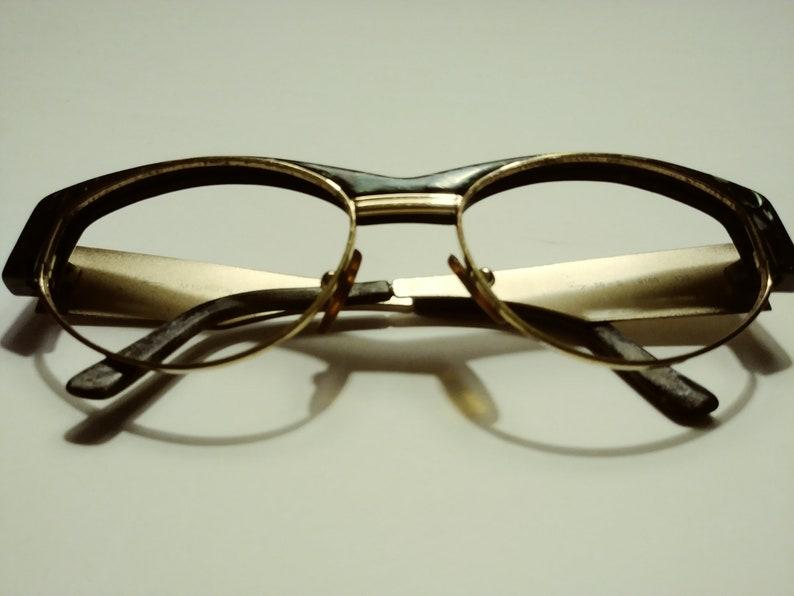Vintage Genny Ladies Gold/Deep Green Eyeglass Frame Italy