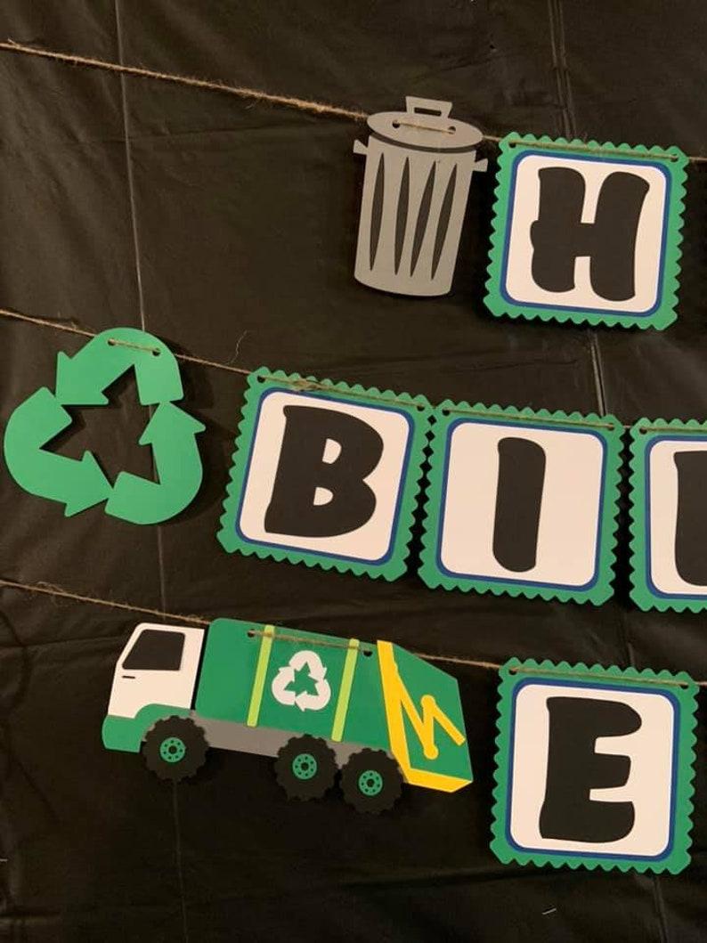 Garbage Truck Birthday Banner Trash Truck Decoration Trash Bash Birthday Trash Truck Birthday Decoration