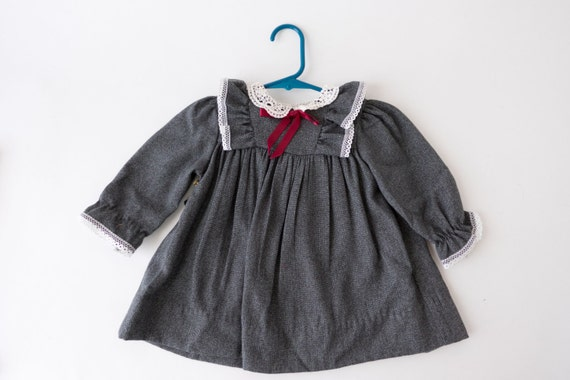 bb066b4e55 Vintage 12 month Baby Dress Made in the USA long sleeve grey