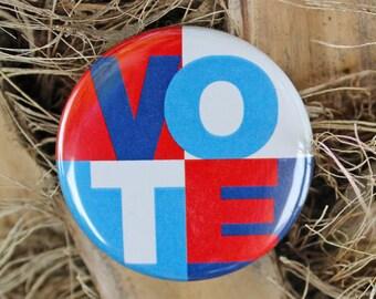VOTE - Pinback or Magnet Button or Badge Reel