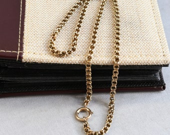 double link solid chain  42cm Antique Victorian solid sterling silver reed chain necklace  locket 16.5 Free post...