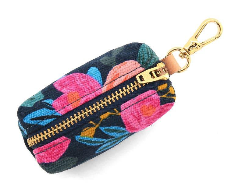 Rosa Floral Navy dog poop bag holder // Rifle Paper Co. fabric image 0