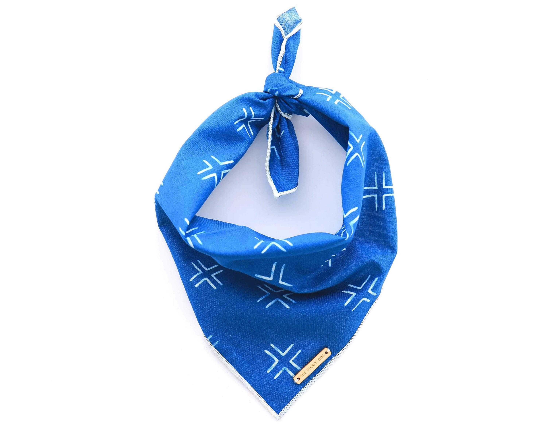 Cross My Heart Ocean dog bandana Blue batik pet bandana