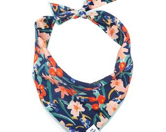 SALE: Inky Blooms Dog Bandana // Floral pet bandana // Spring dog scarf // Modern, chic puppy bandana