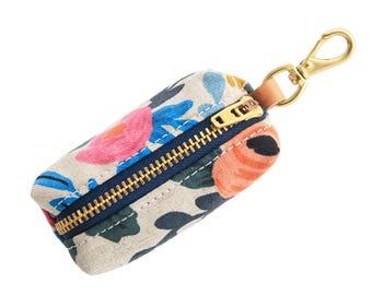 Rosa Floral Natural Rifle Paper Co. leash bag attachment // Flower dog poop bag dispenser // Attractive waste bag holder // Dog lover gift