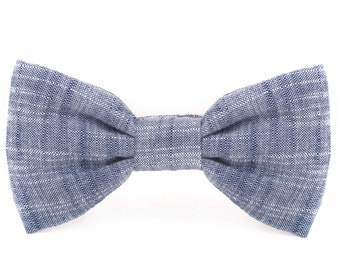 SECONDS SALE: Chambray dog bow tie // Blue dog bowtie // Over-the-collar dog bowtie // Slip-on pet bow tie with minor flaw