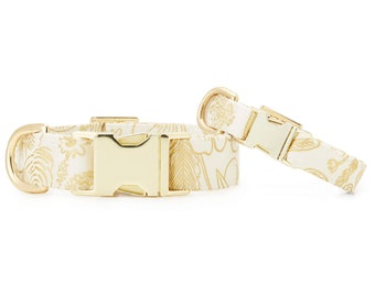 SECONDS SALE: Colette Cream Metallic Floral Dog Collar // Wedding pet collar // Metallic dog collar // Chic collar with minor scratches