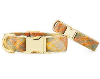 SECONDS SALE: Harvest Plaid Flannel Dog Collar // Yellow plaid pet collar // Fall Dog Collar // Chic modern pet collar with minor scratches