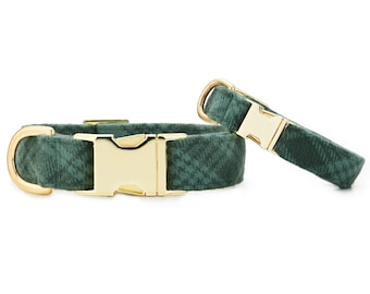 SECONDS SALE: Juniper Plaid Dog Collar // Green Plaid pet collar // Holiday/Christmas dog collar // Modern collar with minor scratches