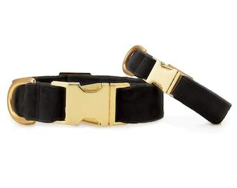 SECONDS SALE: Black Velvet Dog Collar // Black pet collar // Wedding Dog Collar // Chic modern pet collar with minor scratches