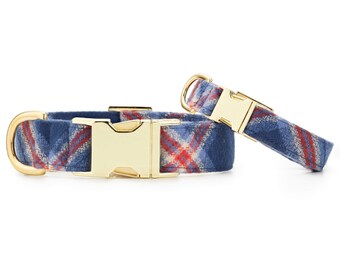 SECONDS SALE: Jackson Plaid Flannel Dog Collar // Blue plaid pet collar // Fall Dog Collar // Chic modern pet collar with minor scratches