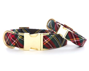 Stewart Cotton Dog Collar // Black plaid pet collar // Chic holiday dog neckwear // Collar with gold or rose gold metal hardware