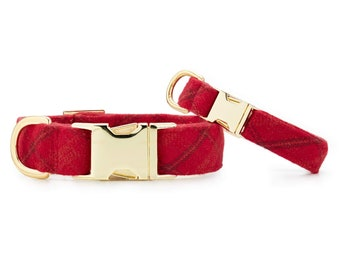 SECONDS SALE: Aberdeen Dog Collar // Red Flannel pet collar // Holiday/Christmas dog collar // Modern collar with minor scratches