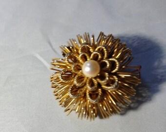 Faux Pearl on Goldtone Metal Brooch