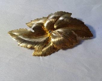 Goldtone Leaf Motif Brooch