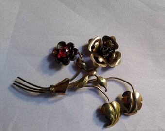 Floral Brooch. Red Glass Stone. Brasstone Frame