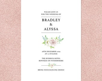 English Rose - simple, personalised country garden wedding invitations with matching accessories available / wedding invites / rose invites