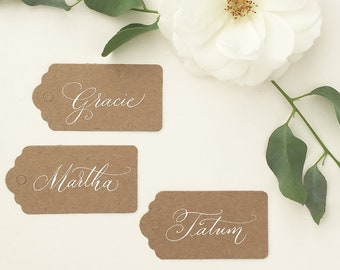Cheap rustic luggage tags with calligraphy / wedding place cards / wedding name tags / personalised place tags / kraft tags for weddings