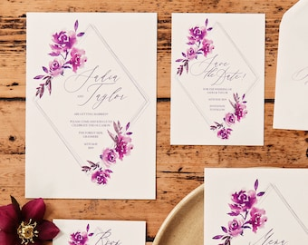Purple diamonds wedding invitations with matching accessories