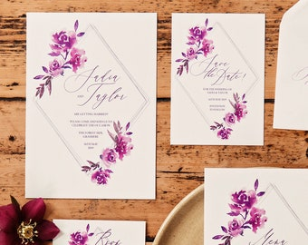 Purple diamonds wedding invitations with matching accessories