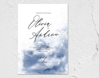 Modern Scribe - calligraphy style wedding invitations with matching accessories