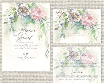 Serenity unique illustrated personalised wedding invitations with rsvp and info sheets as extras / wedding invites / floral wedding cards