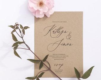 Kraft & calligraphy wedding invites