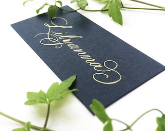Navy blue wedding place names with hand calligraphy in gold ink / escort cards / place cards / personalised name cards for weddings