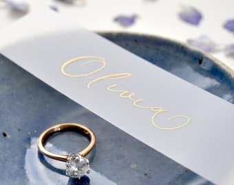 Elegant wedding place names - quality vellum paper with gold handwritten calligraphy