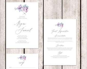Symphony - simple, personalised boho wedding invitations with matching accessories