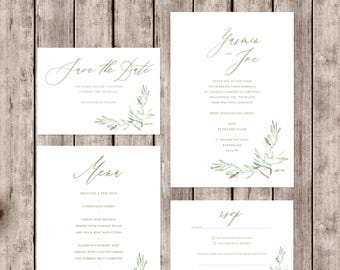 Artisan style 'Tuscany' wedding invitations with olive branch detail and matching accessories