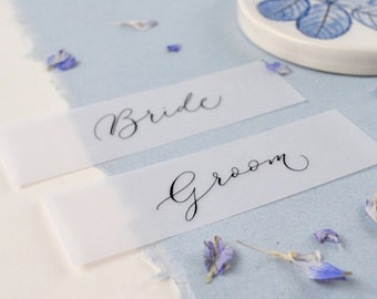 Elegant wedding place names - quality vellum paper with black handwritten calligraphy