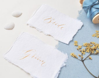 Sustainable wedding place names - recycled cotton rag paper, gold handwritten calligraphy