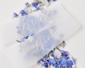 Elegant wedding place names - quality vellum paper with white handwritten calligraphy