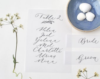 Handwritten calligraphy table plans on vellum paper, in black ink