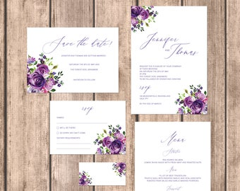 Violet Rose wedding invitations with matching accessories