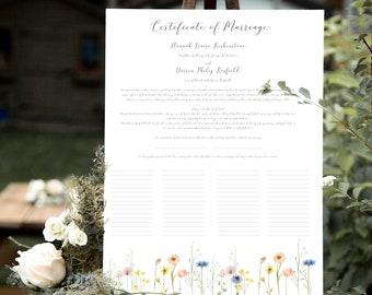 Quaker marriage certificate in calligraphy font with wildflower border