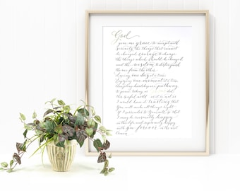 Serenity prayer in elegant handwritten modern calligraphy with gilding detail