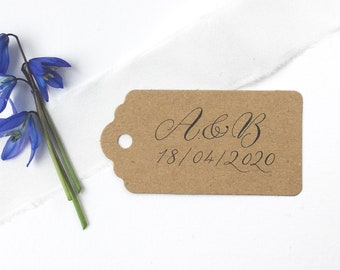 Initial + date recycled wedding favour tags with calligraphy / wedding tags / personalised wedding tags / kraft tags for weddings