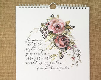 A calendar for 2019 - nature, floral illustration, UK holidays and seasonal quotes / 2019 wall calendar / hanging calendar