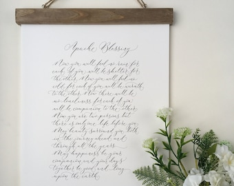 Apache Blessing - high quality calligraphy print of a favourite wedding poem - wedding calligraphy gift